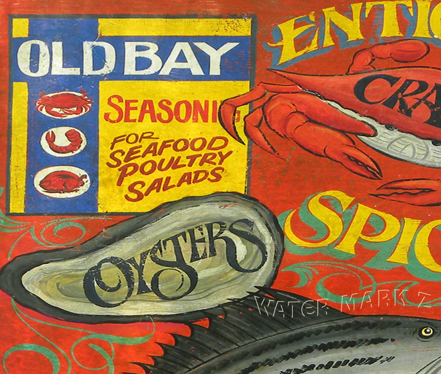 Cajun Kitchen Decor Old Bay Seafood Print With Mat Art Kitchen Decor Wall Hanging