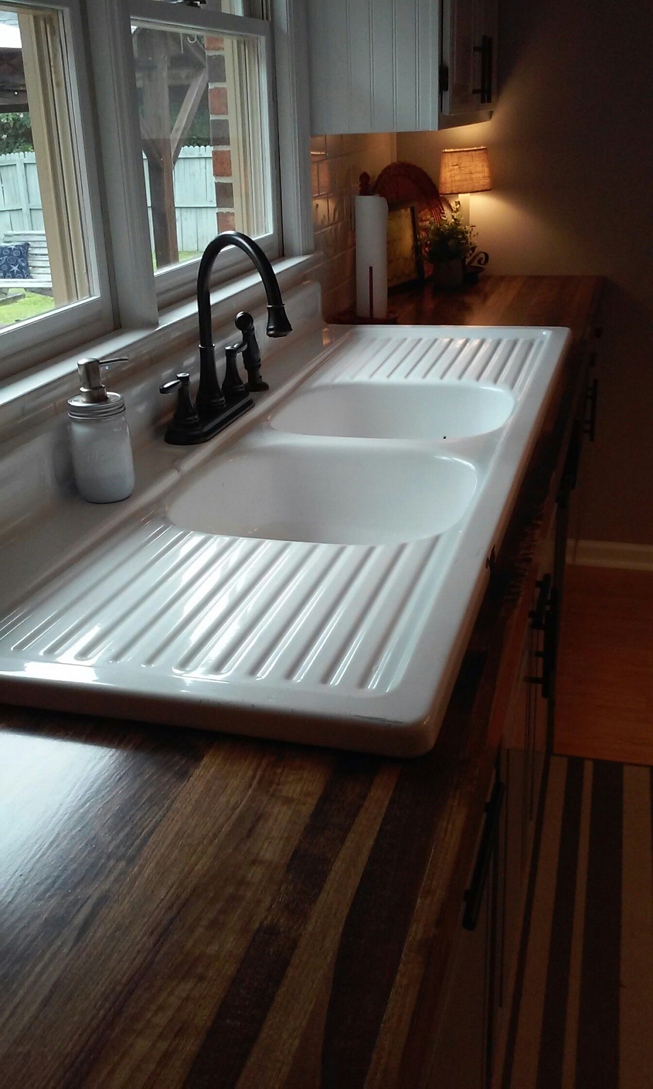 Finished Our Wooden Countertops And Installed 65 Yr Old Farmhouse Drainboard Sink More Pictures Of Remodeled Kitchen Under My Board Homemade