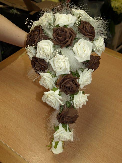 silk flower bouquets | Brown and ivory teardrop bouquet | Silk ...