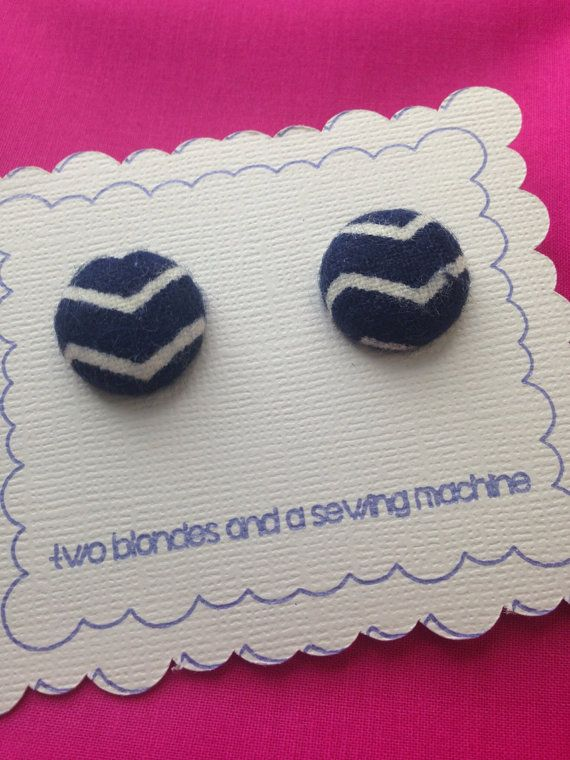 Navy and White Chevron Fabric Button by twoblondesandasewing | Two ...