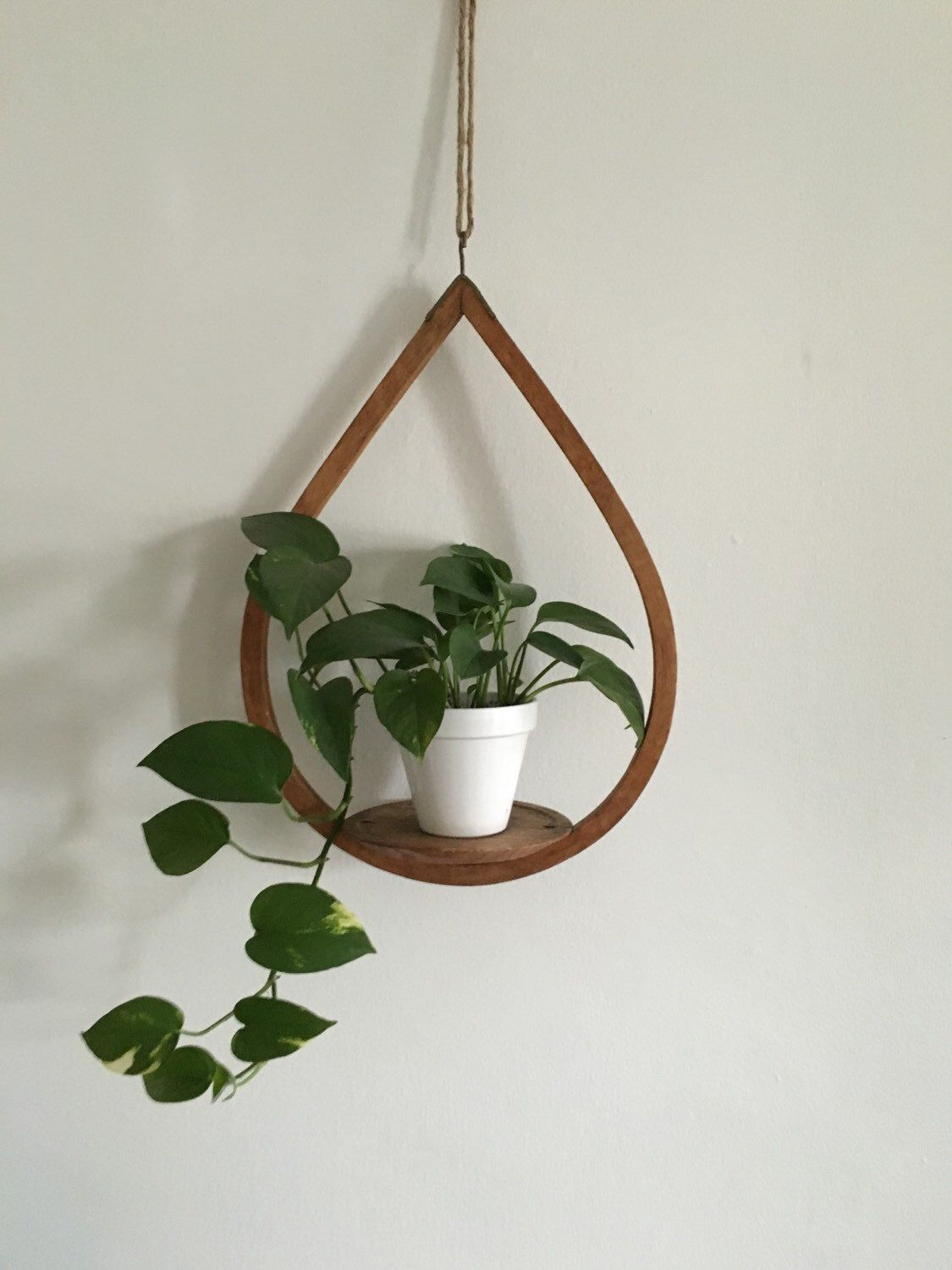 Vintage teardrop wooden mid century geometric plant hanger. hanging  bentwood planter. home decor interior design boho hanging planter