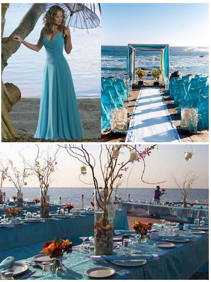 Turquoise decoration for a wedding on the beach weddings on the turquoise decoration wedding beach weddings 19 best free home design idea inspiration junglespirit Images
