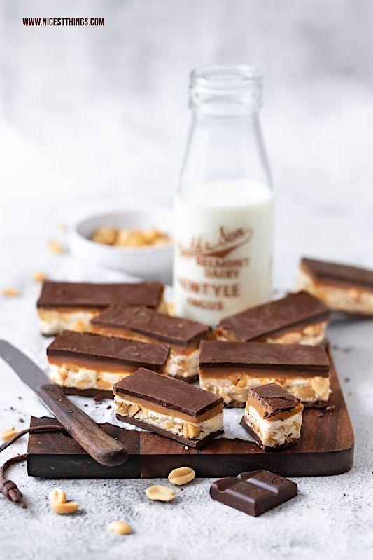 Schokoriegel selber machen - ein Schokoriegel Rezept mit Erdnüssen und Karamell - Nicest Things