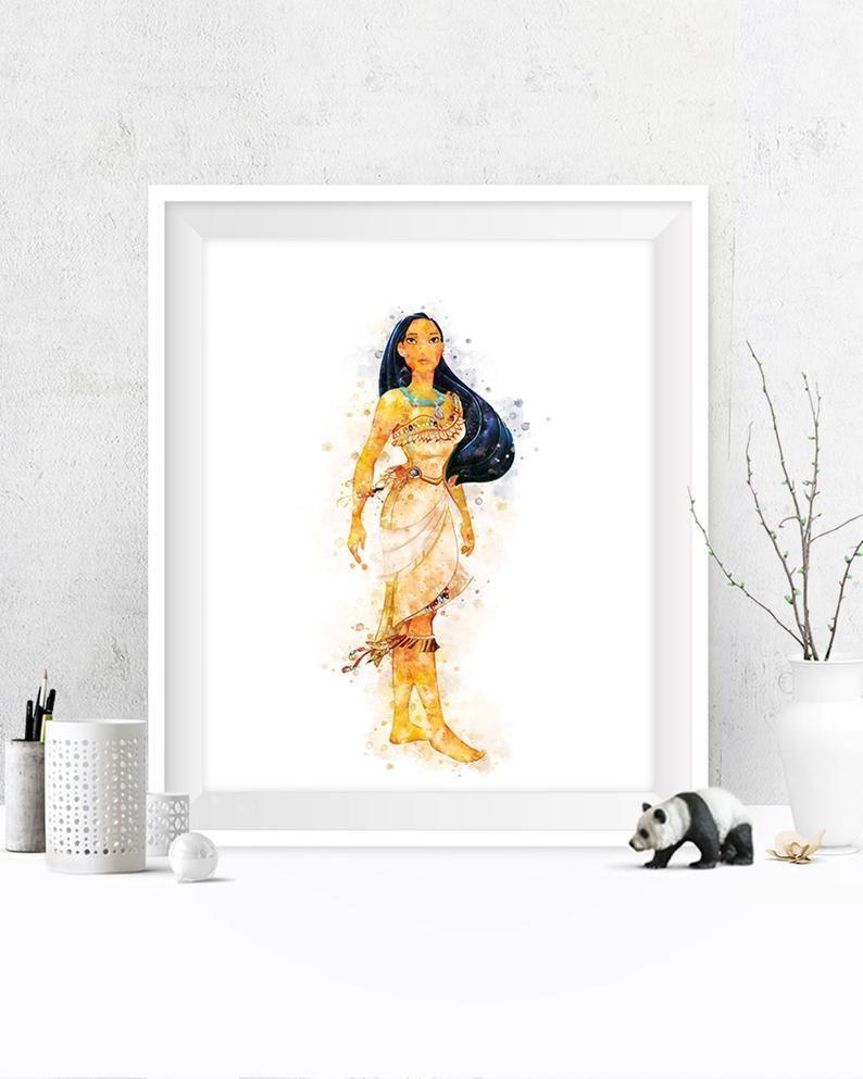 Princess Pocahontas Printable Painting at Etsy - #painting #pocahontas #princess #printable - #WatercolorPainting