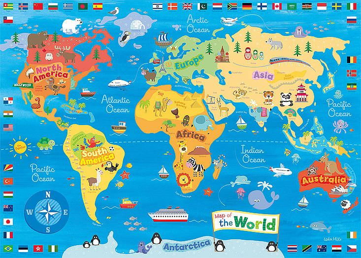 Oh how i wish there was a poster print of this instead of happy spaces x 50 x 2 cm kids wall art canvas print my first world map by laila hills gumiabroncs Image collections