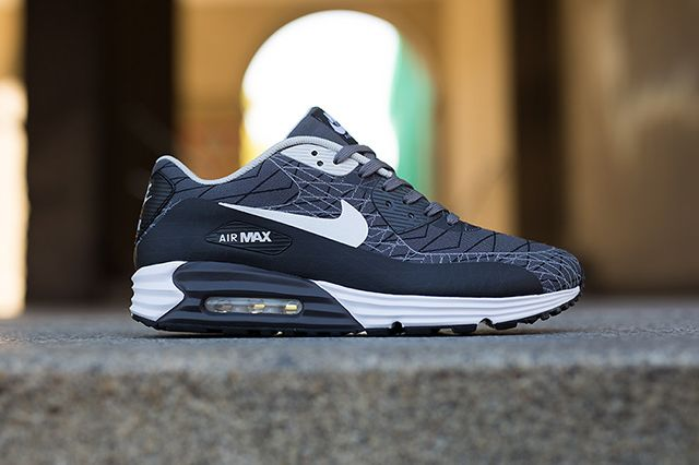 nike air max lunar 90 jacquard black/cool grey/white painted