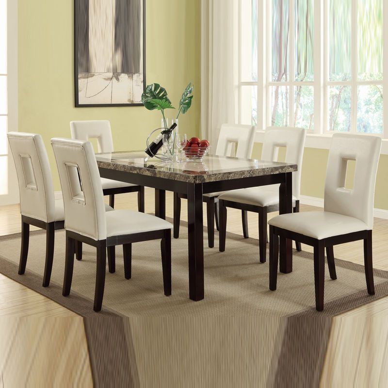 7 PC Cream Marble Look Table Bycast Leather Upholstery Chair Kitchen Dining  Set #ContemporaryModern