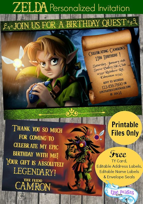 Diy zelda invitation zelda printable invitation zelda birthday diy zelda invitation zelda printable by epicpartiesbyrevo stopboris Gallery