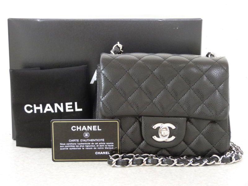 d38956a7b297 r4741 Auth CHANEL Black Quilted Caviar Skin CC Turn Lock Chain Shoulder Bag  SHW