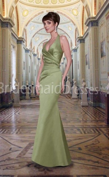 8529531f56e1 Sexy Sage Stretch Satin Trumpet Mermaid Halter Floor-length With Side  Draping Bridesmaid Dresses(UKBD03-552)