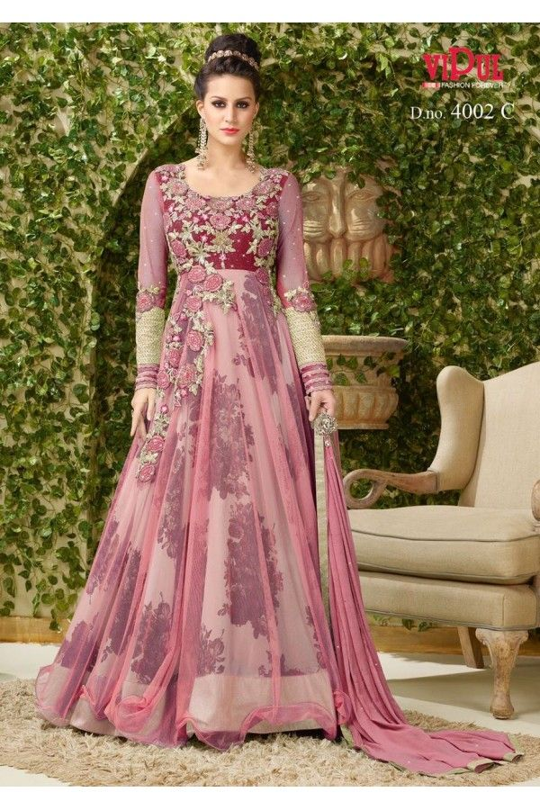 e856e0d5e5 Festival Wear Light Pink Net Gown - VIPUL-4002C | Vêtements ...