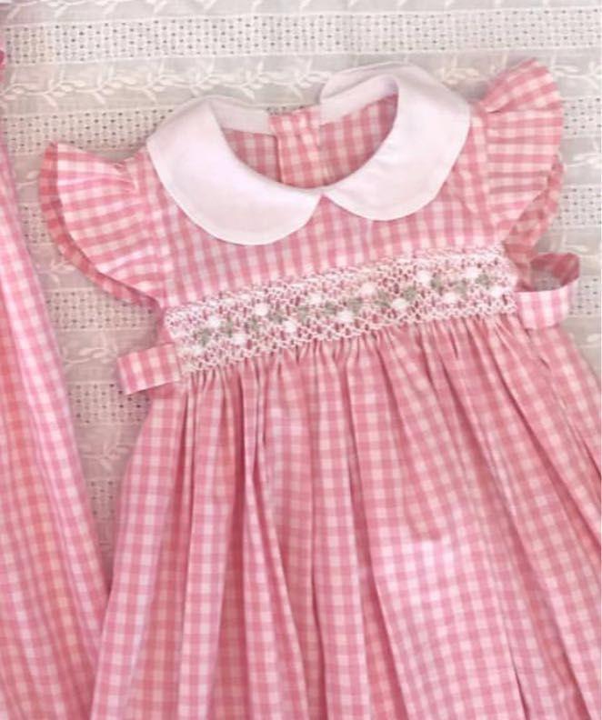Tradicional Estilo Español Bebé Niñas Rosa Peto de punto