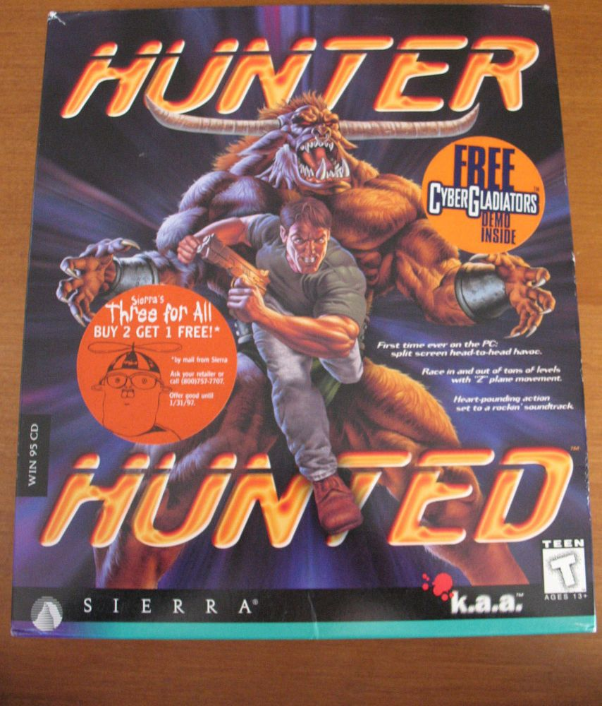 1996 Hunter Hunted PC Game by Sierra COMPLETE in Big Retail