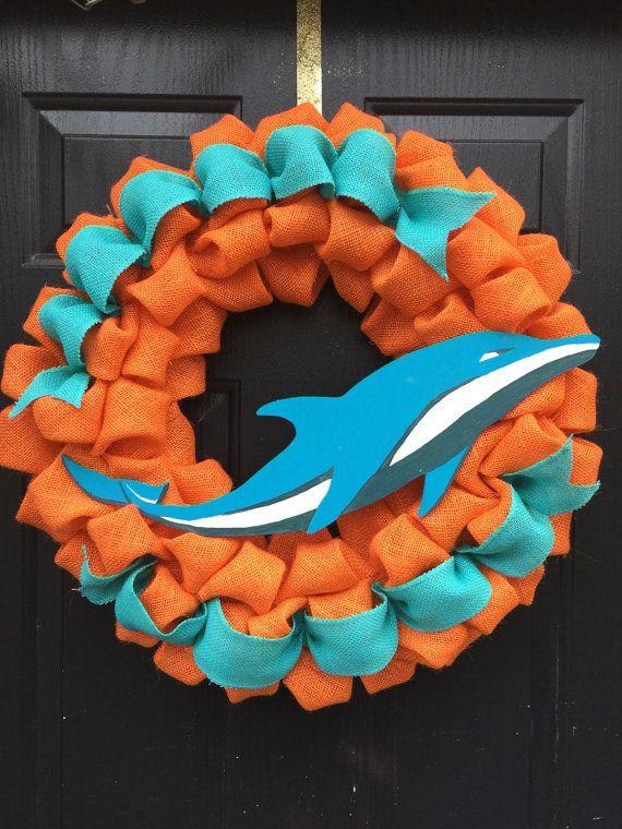 e343cc5df38935 Miami Dolphins Wreath @Etsy | Miami Dolphins | Miami dolphins logo ...
