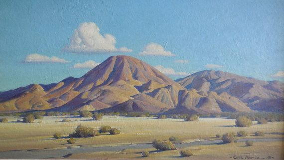 Large 1948 California Desert Shadow Mountain Landscape Oil Painting Clyde Forsythe Oil Painting Landscape California Landscape Mountain Landscape