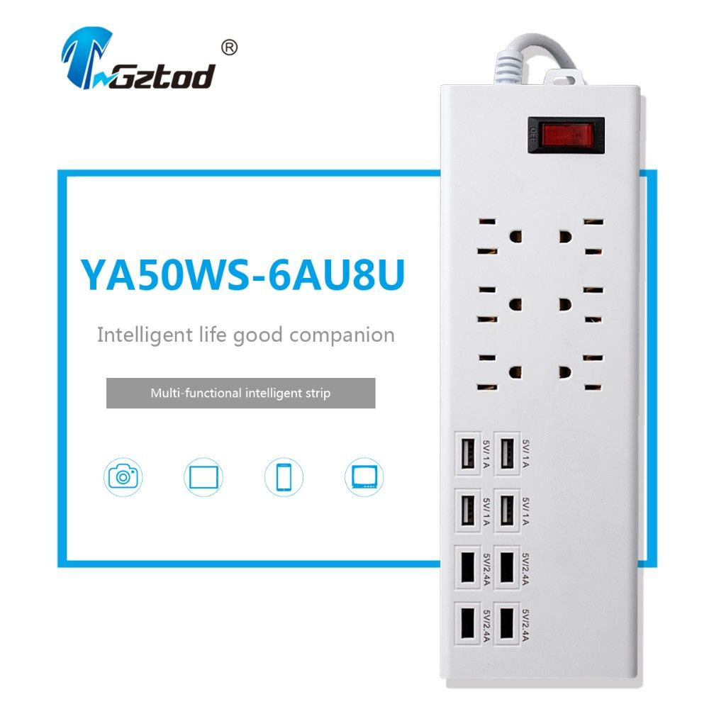 6 gang electrical outlet with usb US standard multi socket extension ...