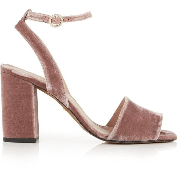 Whistles Medina Velvet Block Heel Ankle Strap Sandals (£165) ❤ liked on Polyvore featuring shoes, sandals, pink, ankle tie shoes, ankle wrap shoes, block heel shoes, pink sandals and ankle wrap sandals