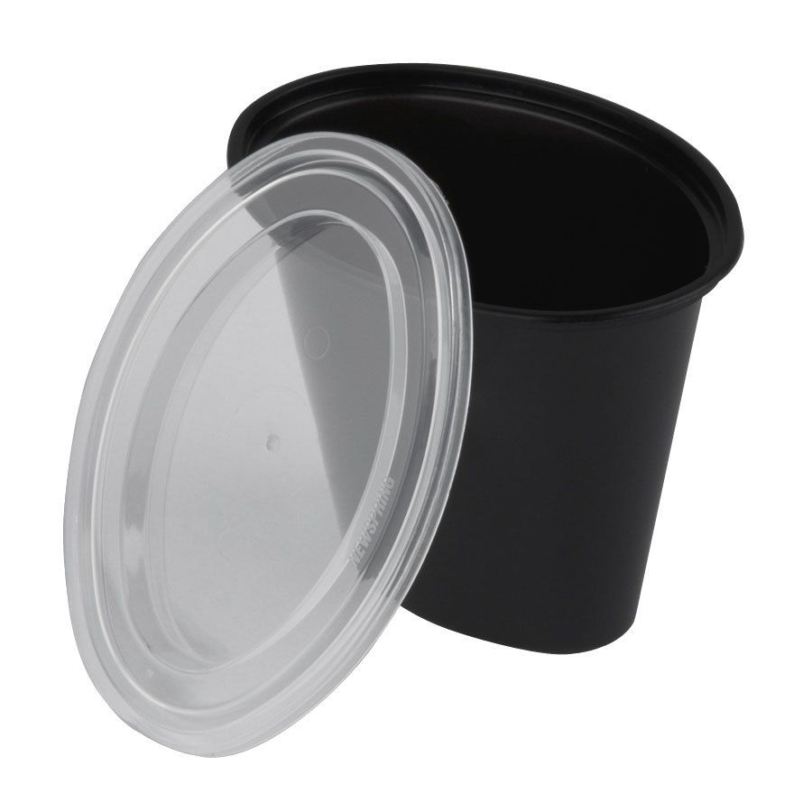 Newspring E506B ELLIPSO 6 oz. Black Oval Plastic Souffle / Portion Cup with Lid 500/Case