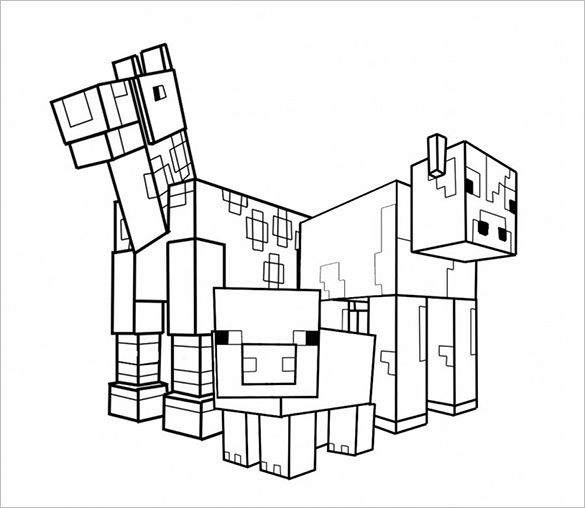 Animal Minecraft Coloring Page Template Word Jpg 585 508 Minecraft Coloring Pages Coloring Pages Minecraft