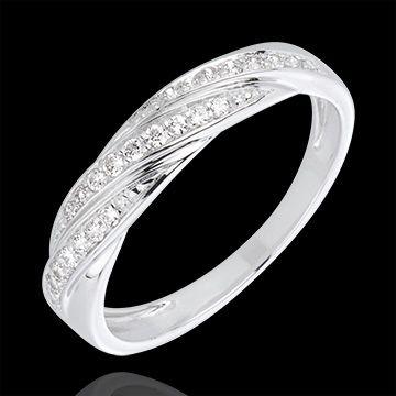 Photo of Diamond ring Precious braid in white gold