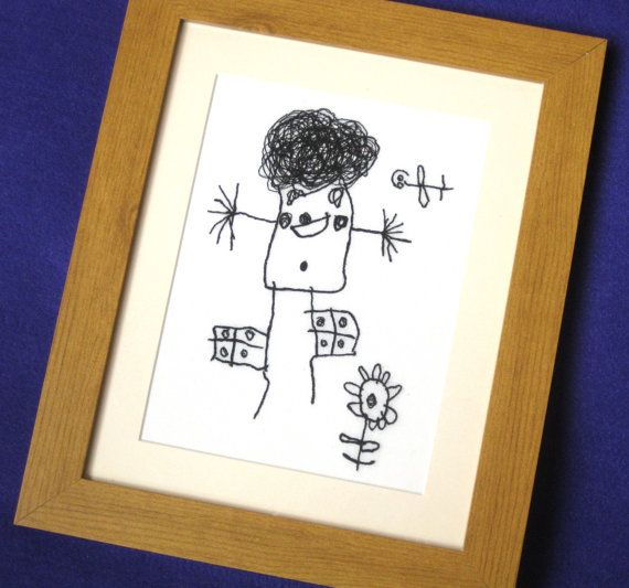 kids drawing keepsake embroidered personalised by bowbeanie