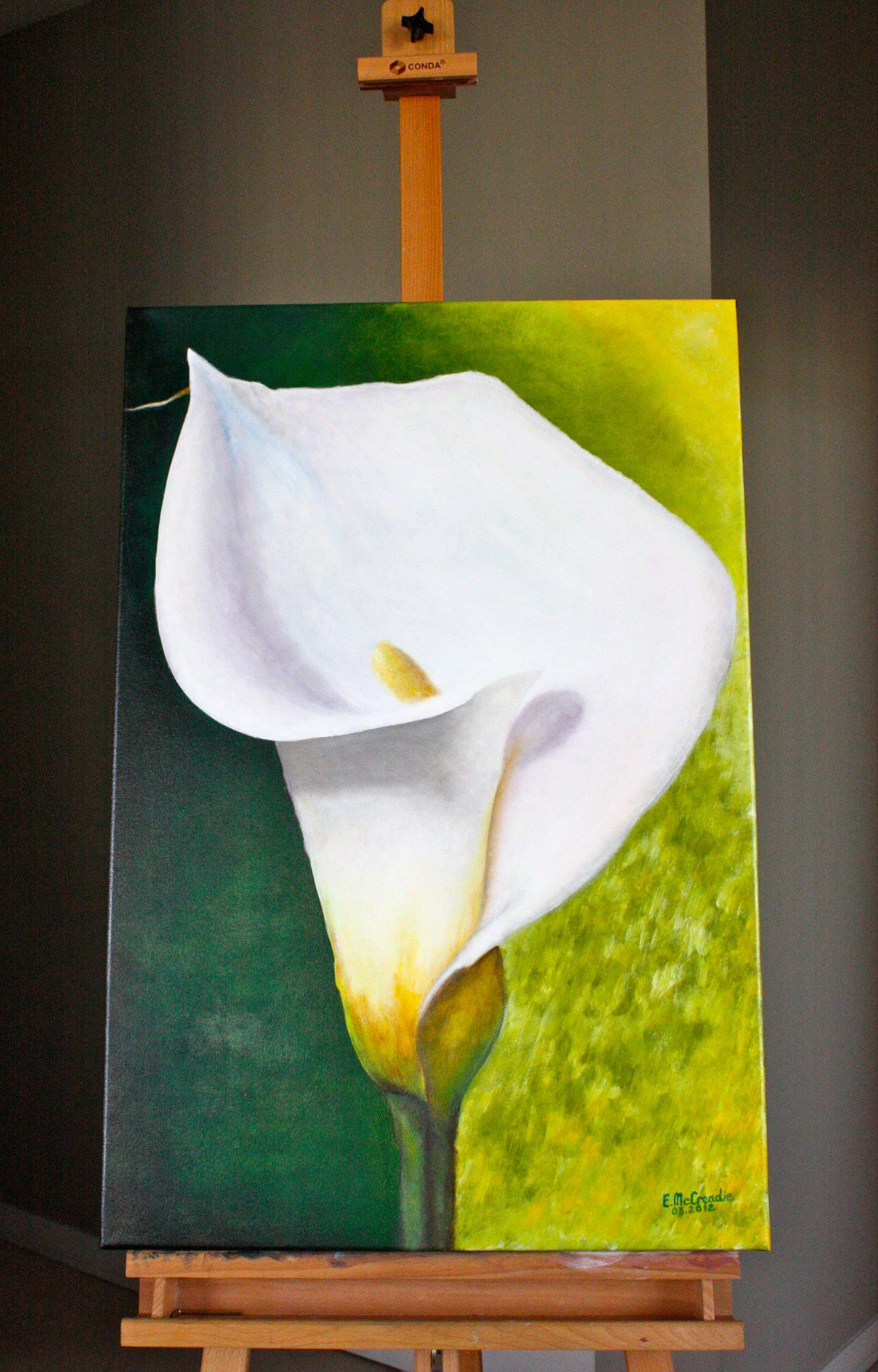 """Canvas, Acrylic, Varnish Dimensions: 24""""x46"""" Weight: 1.3kg Name: """"Calla Lily"""" Artist: E.McCreadie"""