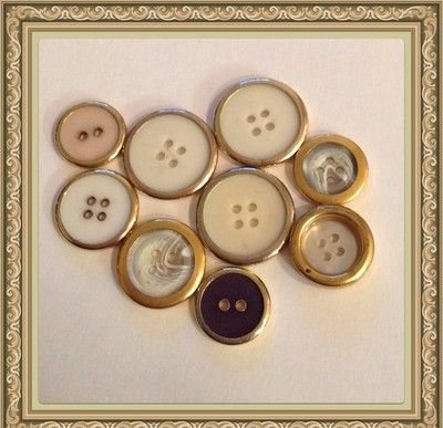"Vintage Gold MOP White Lucite Ivory Color Black 9 Pieces 1"" 3/4"" 19mm  Starting bid $9.99"