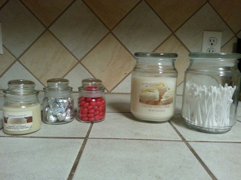 Buy candles with a fitted lid then you can reuse the jars