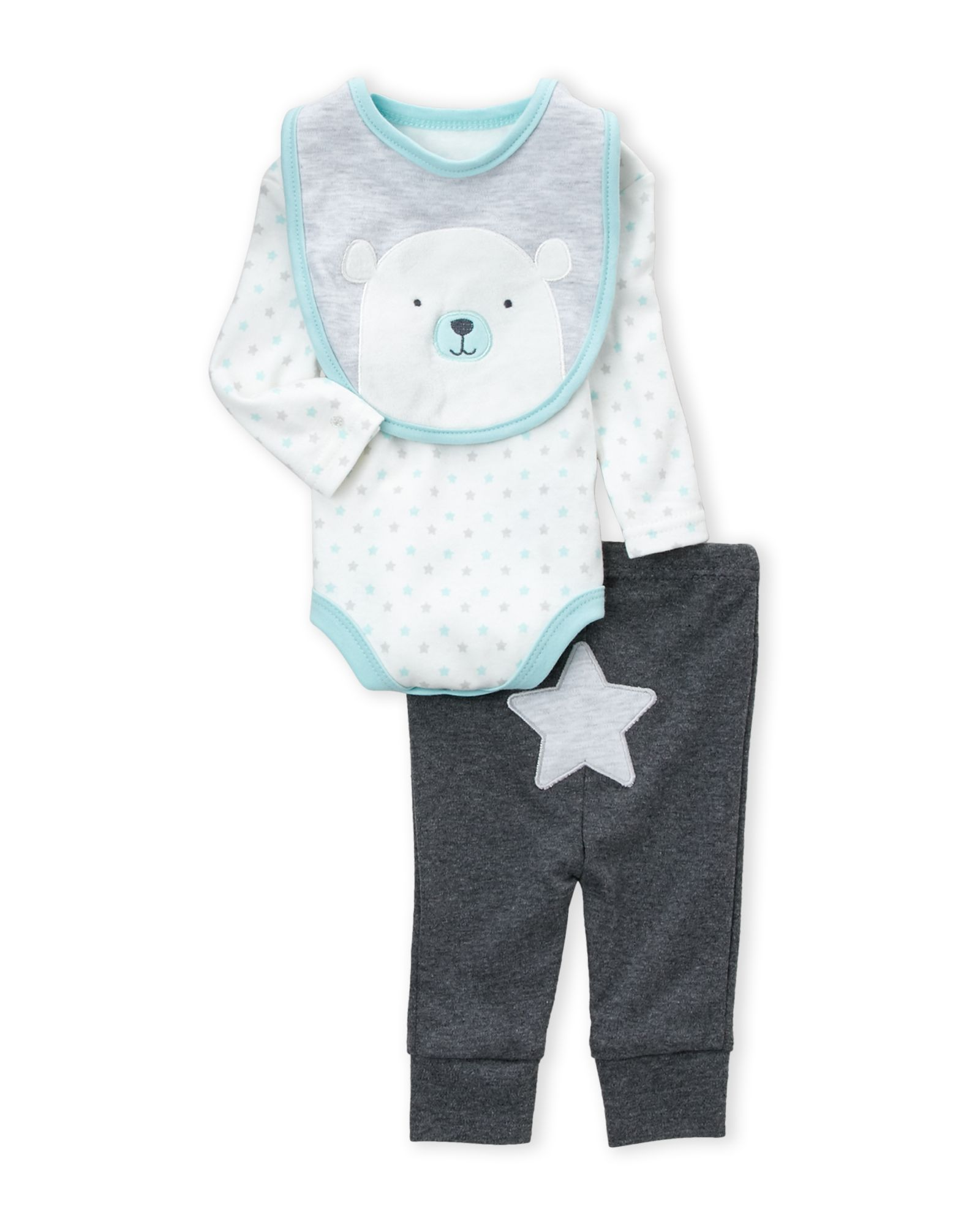 Rene Rofe Newborn Boys 3 Piece Star Bodysuit Pants & Bear Bib Set