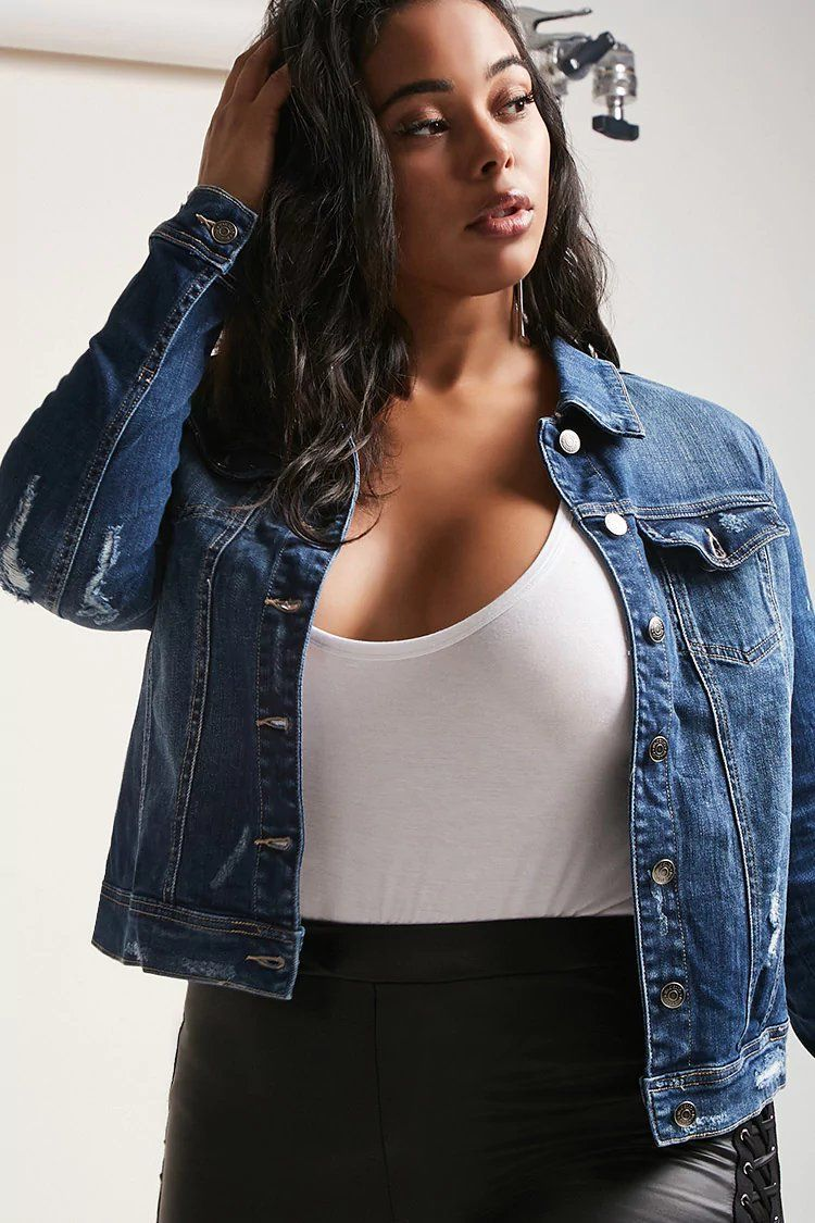 2a499a2cf16 Product Name Plus Size Distressed Denim Jacket