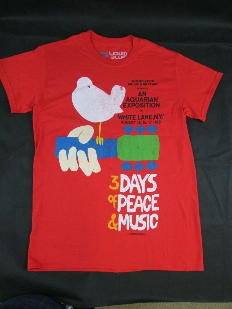 Nwot Woodstock Concert T Shirt By Liquid Blue Size Small Red Fashion Clothing Shoes Accessories Mensclot With Images Woodstock Concert Concert Tshirts Woodstock Music
