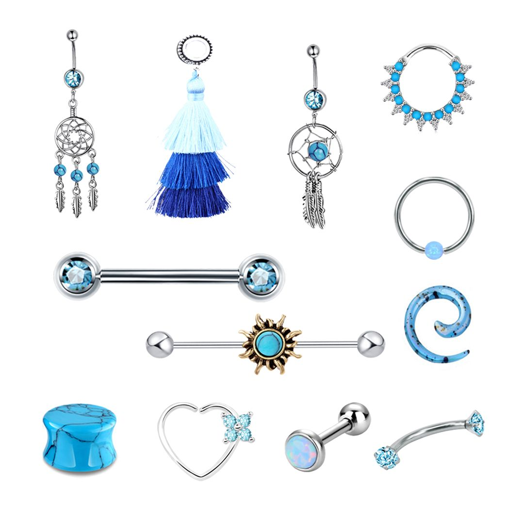 The Blue Collection is classy with just enough charm. Add some intrigue to your look, order yours today! #evenbodyjewelry #bodypiercing #bellyring #plug #nipplering