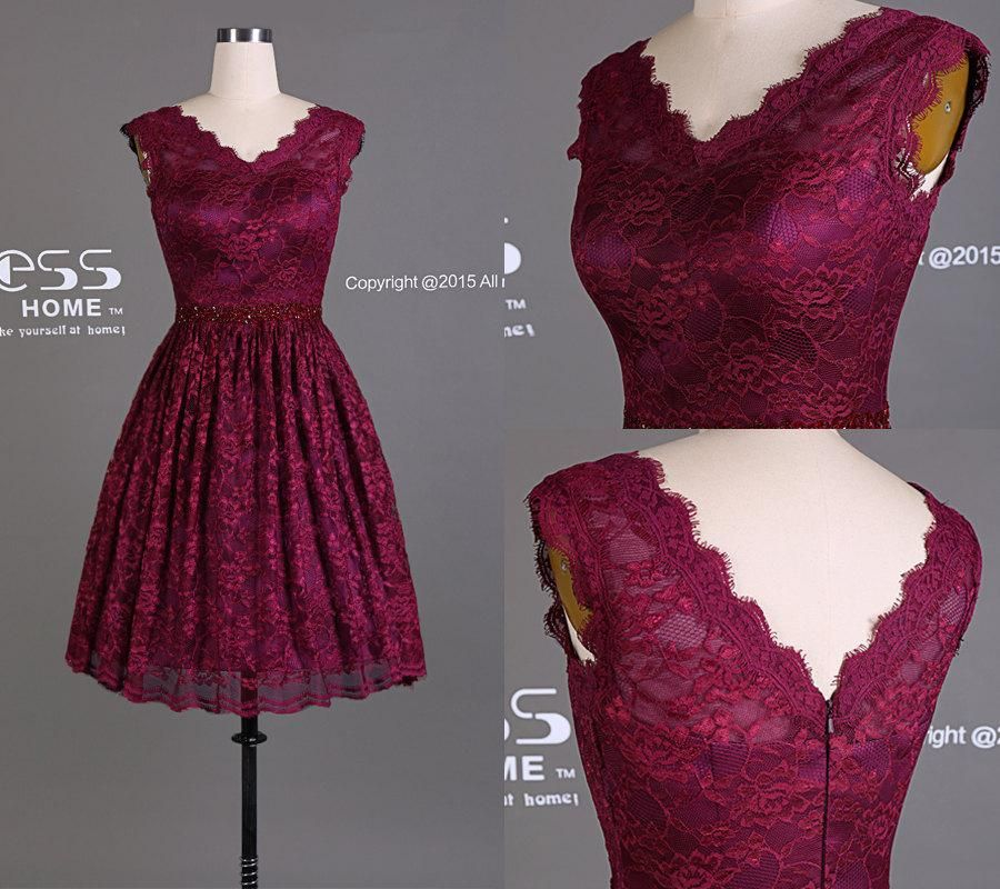 2017 Burgundy Lace A Line Short Bridesmaids Dress Simple V Neck Prom