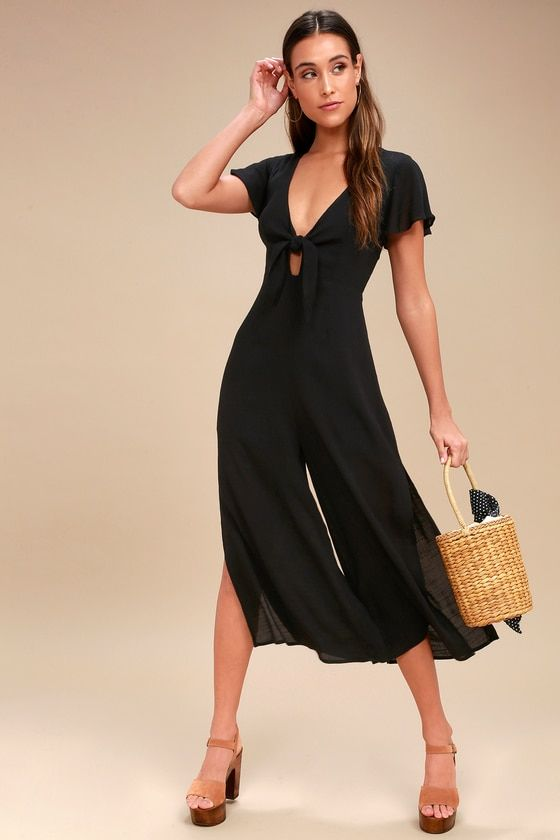 Please and Thanks Black Tie-Front Culotte Jumpsuit   Black tie, Wide legs  and Bodice