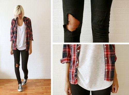 White Scoop Neck, Plaid Shirt, Ripped Black Skinny Jeans, Converse