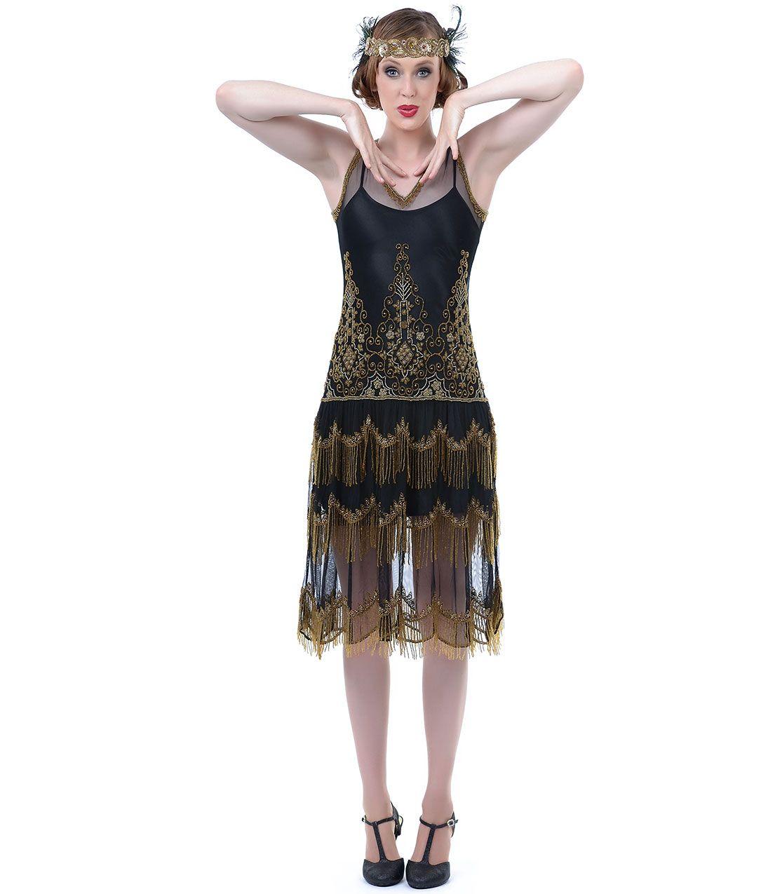 Unique Vintage #1920s Black & Gold Flapper Dress. #uniquevintage ...