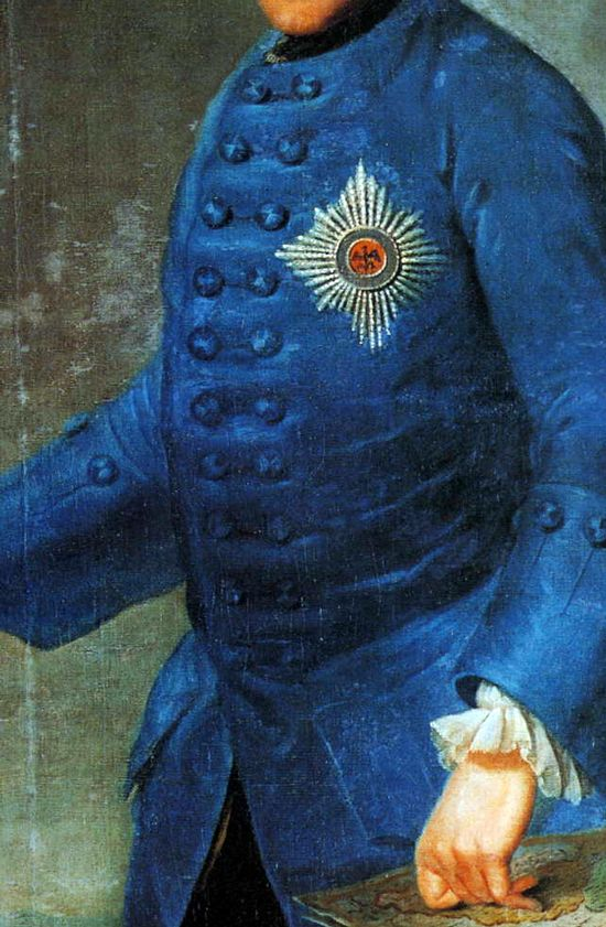 "Prussian Blue Paunch! Frederick II of Prussia (24 January 1712 – 17 August 1786), 1753, by Johann Georg Zieseniss, was King in Prussia (1740–1786) of the Hohenzollern dynasty. Best known for his brilliance in military campaigning and organization of Prussian armies. He became known as Frederick the Great and was nicknamed Der Alte Fritz (""Old Fritz""). He was a grandson of George I of Great Britain, and also a nephew of George II."
