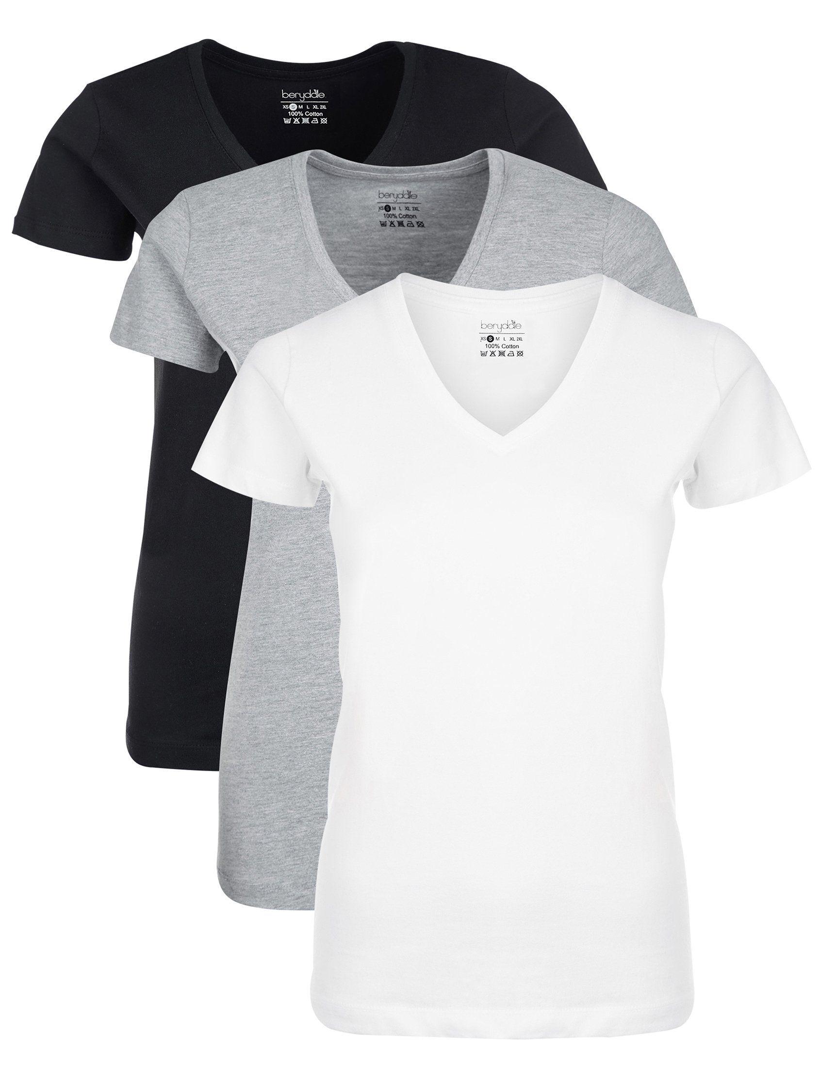 damen t-shirt v ausschnitt pack