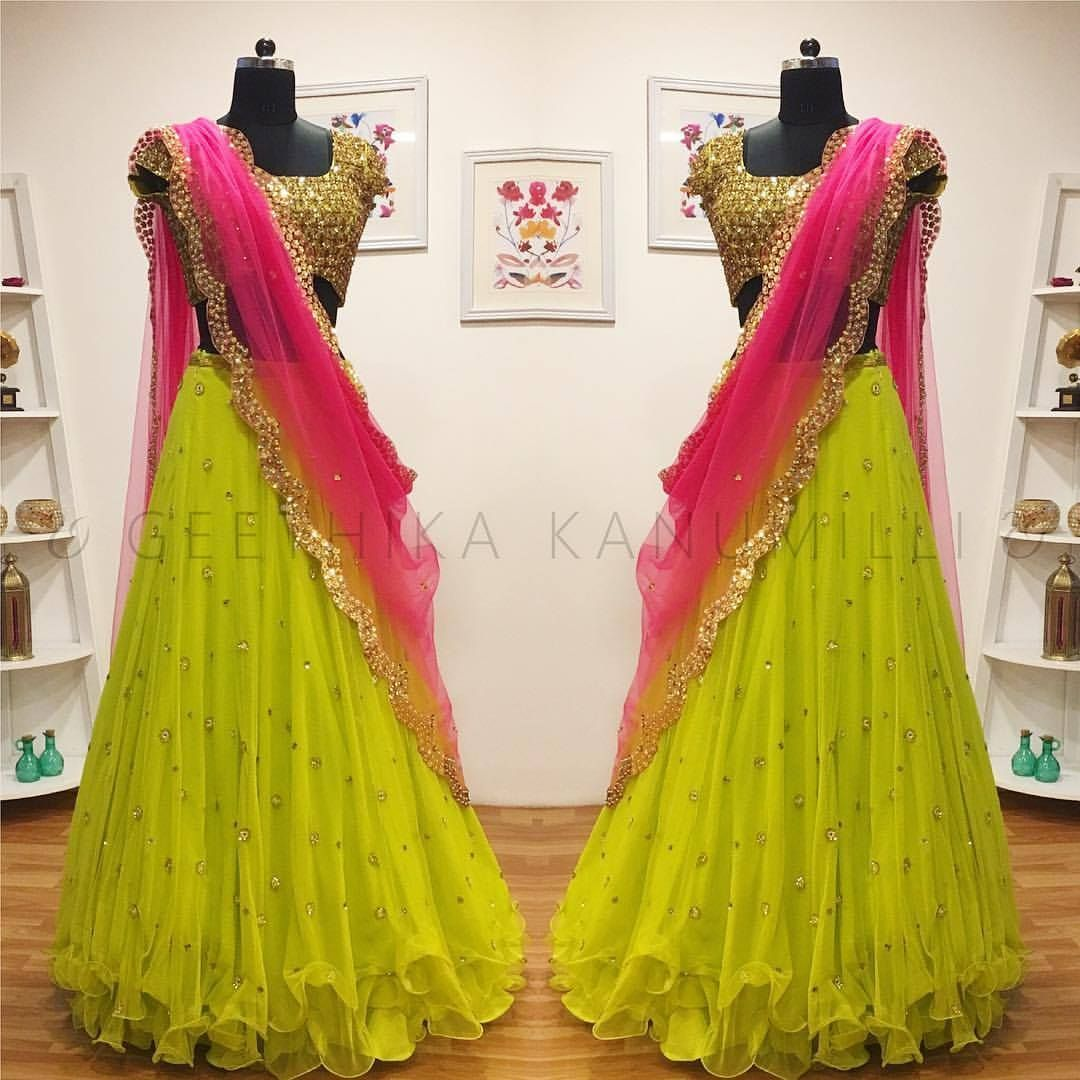 Dress code baby pink  Stunning parrot green color lehenga and blouse with pink color net