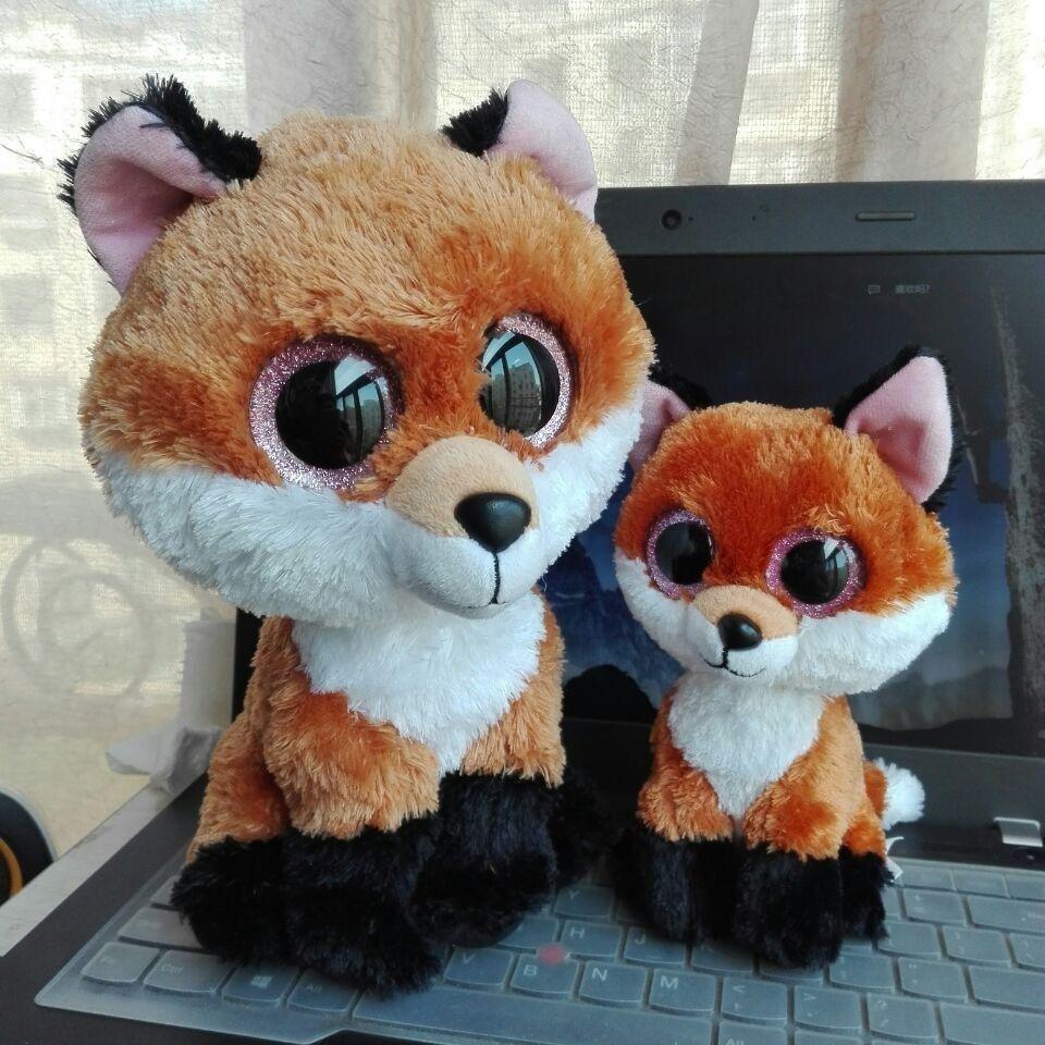 TY BEANIE BOOS 2 шт. 15 см и 25 большой глаз Slick Fox
