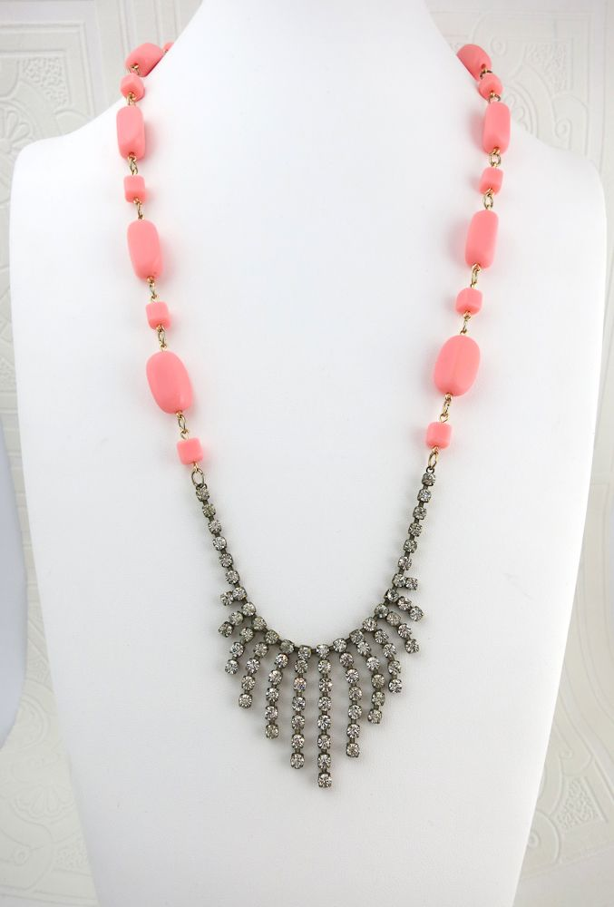 $125.00 Peaches and Cream With Rhinestones Necklace