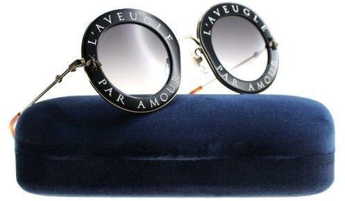 a9f3852454f Gucci GG0113S Sunglasses Black Gold Grey