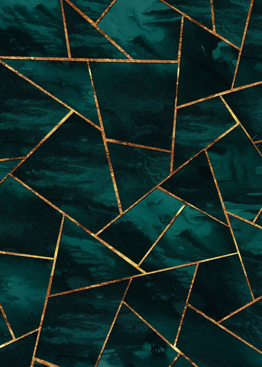 Teal Ink Copper Gold Geo 1 Metal Poster Print Anita S Bella S Art Displate Art Deco Wallpaper Art Wallpaper Art