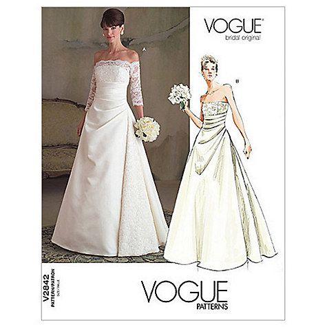 Vogue Women S Bridal Original Dress Sewing Pattern 2842 Online At Johnlewis