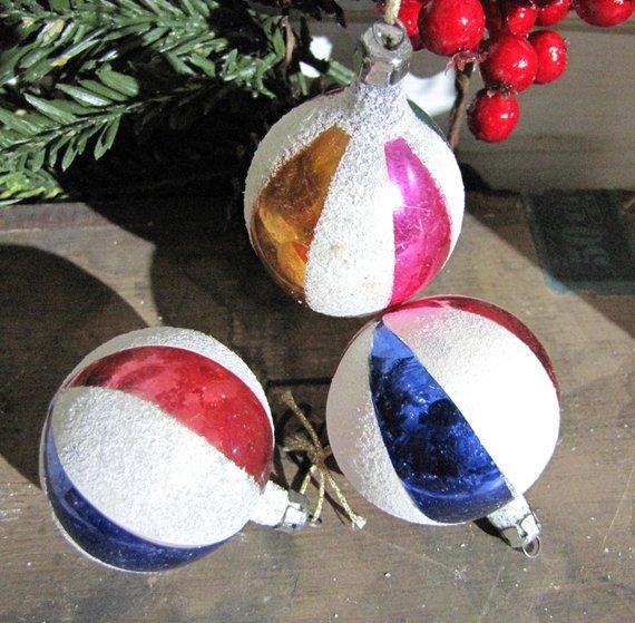 Vintage Poland Christmas Ornamentsthree Small Striped Round Etsy Christmas Ornaments Holiday Decor Glass Christmas Ornaments