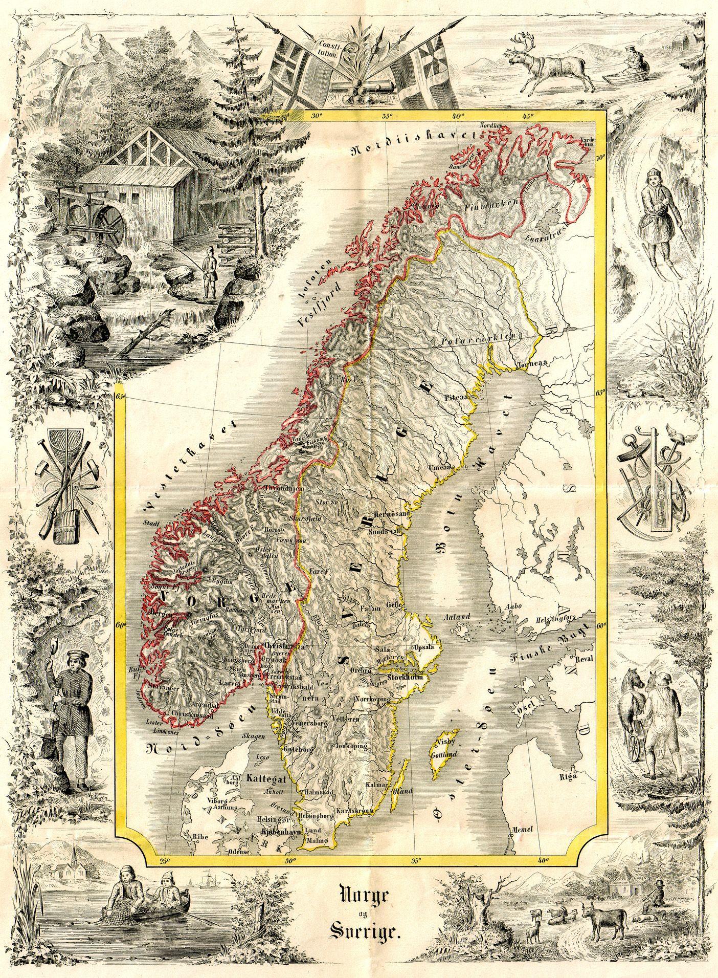 Gammel Norges Karta Google Zoeken Norge Reseaffischer Och Sverige