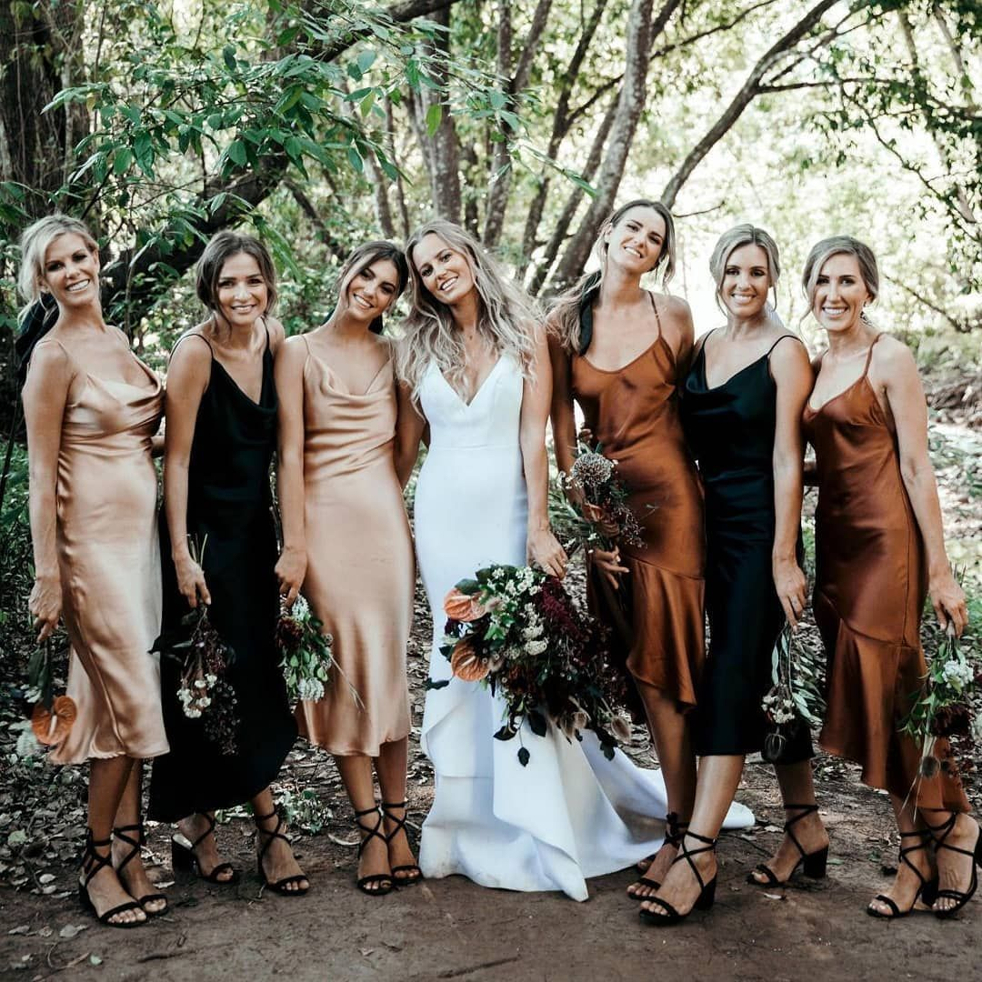 Boho Wedding Ideas On Instagram Contrasting Colors And Black Strappy Block Heel Shoes Photographer Wedding Bridesmaids Bridesmaid Style Bridesmaid Dresses [ 1080 x 1080 Pixel ]