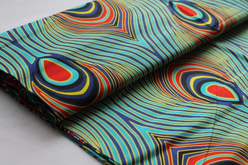 Afrikanischer Wax Print Stoff Peacock Beauty Meterware Fur