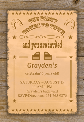 Wild West Style Birthday Invitation Template Free Greetings Island Cowboy Party Invitations Party Invite Template Free Printable Birthday Invitations