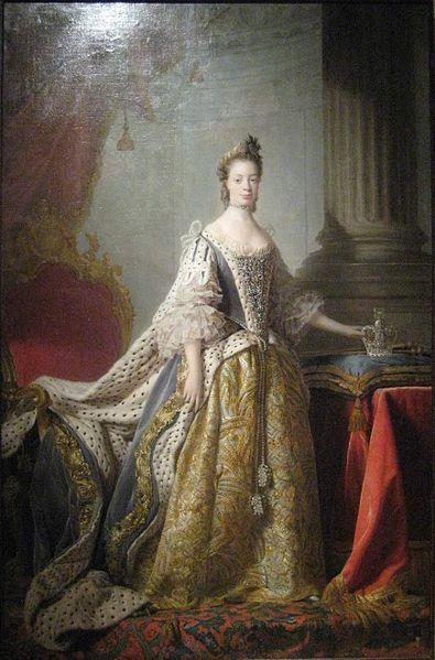 """Charlotte of Mecklenburg-Strelitz, spouse of George III (museum of Rylsk) by Allan Ramsay. Regarding her appearance: """"Most historians question whether the 13th-century ancestor, referred to in various places as a 'Moor' and Berber, was black African. In any event, they contend that the connection, nine and 15 generations removed, was too distant to consider Charlotte 'black' in any cultural way, as her other ancestors were all European."""""""